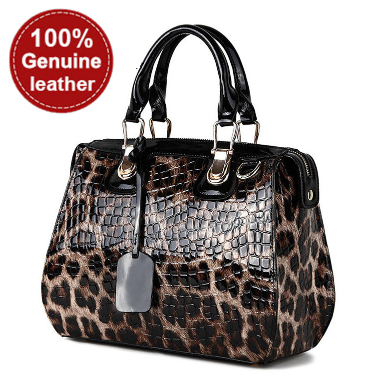 100% real genuine leather bags for women fashion designer brand leopard print patent leather handbag tote shoulder bag NEW 2015(China (Mainland))