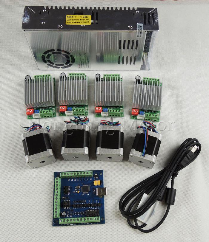 Mach3 cnc usb 4 axis kit 4pcs tb6600 driver mach3 usb for Usb stepper motor controller