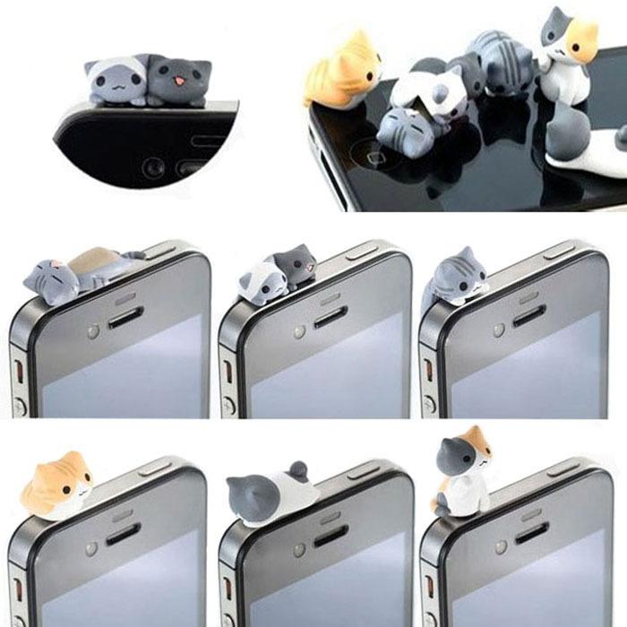 Fashion 6pcs Cat 3.5mm Anti Dust Plug Earphone Jack Plug Phone Stopper Cap For iphone For HTC Phone AccessoriesAnne(China (Mainland))