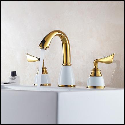 3 pcs set robinet or mode plaqu cuivre blanc laiton salle - Robinet salle de bain original ...