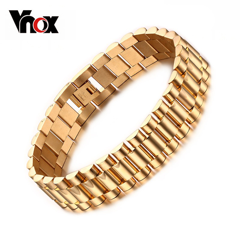 Men's Bracelet 18k Gold Plated 22cm Chunky Chain Bracelets Bangles Stainless Steel Male Jewelry Gift(China (Mainland))