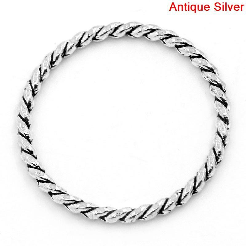 Free Shipping Jewelry Rings For Connectors Pendants Findings Antique Silver Stripe Carved 26mm Dia 50PCs B25089