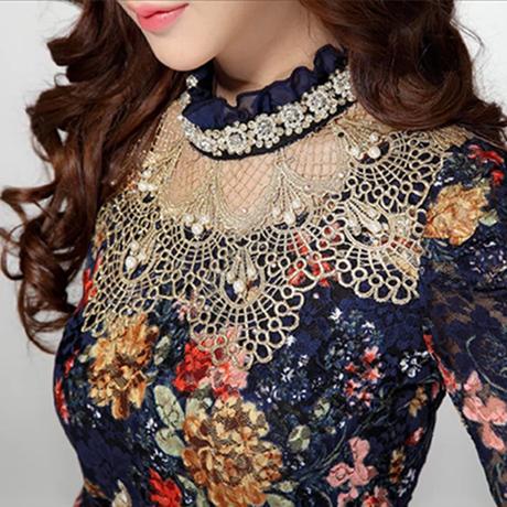 Женщины цветочный кружево свободного покроя девочка блузка алмаз вышивка бисером кружево рубашка женщины одежда 3115