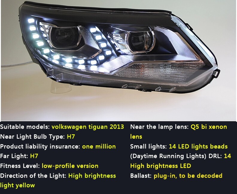 Auto Clud 2013-15 For vw tiguan headlights car styling Q5 bi xenon lens LED DRL14 High brightness led xenon H7 led parking