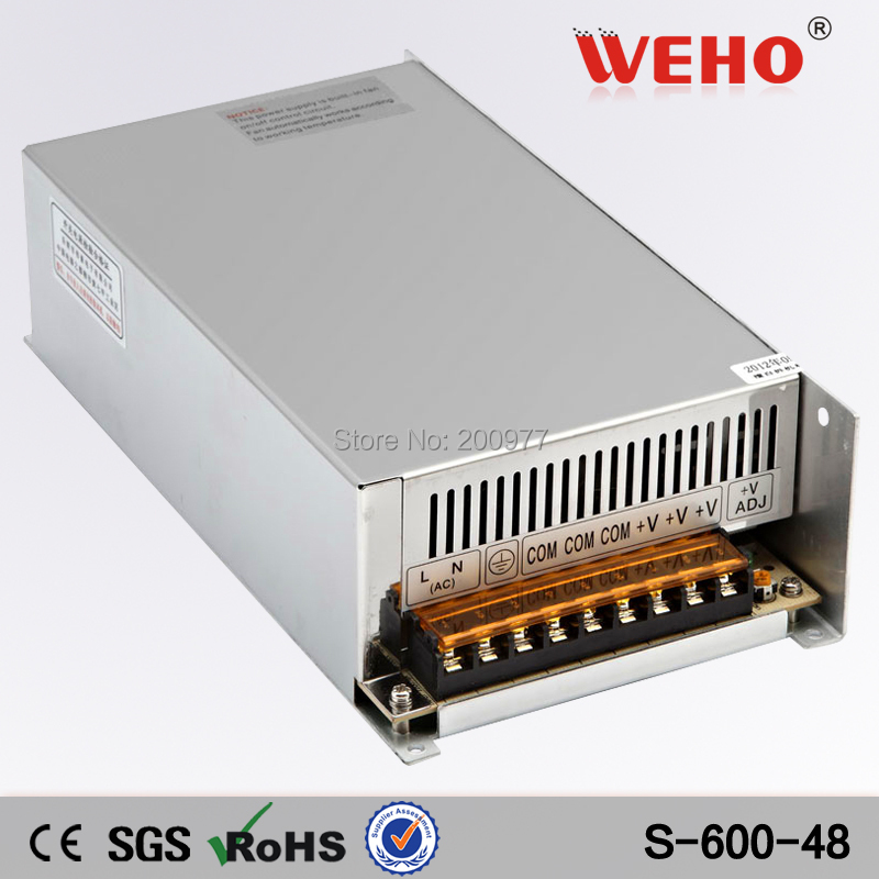 (S-600-48) 24 mounth warranty electronic driver 110/220VAC input DC 48 volt 600w switching power supply(China (Mainland))