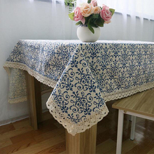 Classic linen & cotton flower printed blue tablecloth dustproof rectangular table cloth wedding party hotel table cover(China (Mainland))
