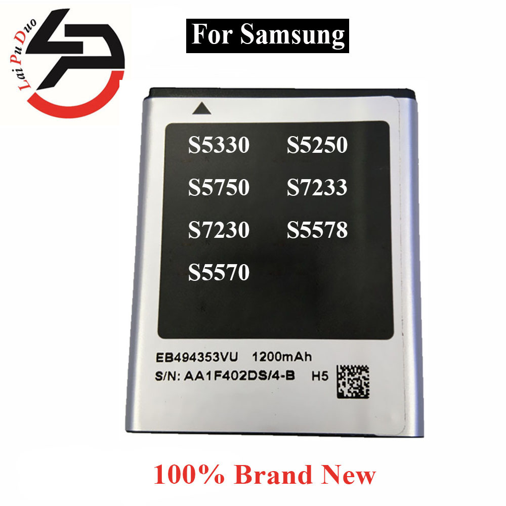 Brand New Samsung S5570 Battery 1200mAh EB494353VU battery For Sumsung Galaxy S5330 S5750 S7230 S5570 S5250 S7233 S5578(China (Mainland))