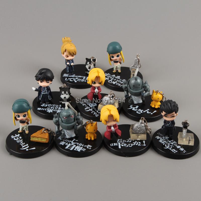 Free Shipping Anime Cartoon Fullmetal Alchemist Mini PVC Action Figures Toys Dolls 9pcs/set FAFG001(China (Mainland))