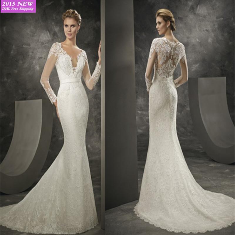 Long Sleeve Wedding Dresses Modern : New design sexy chest open fork wedding dress elegant lace