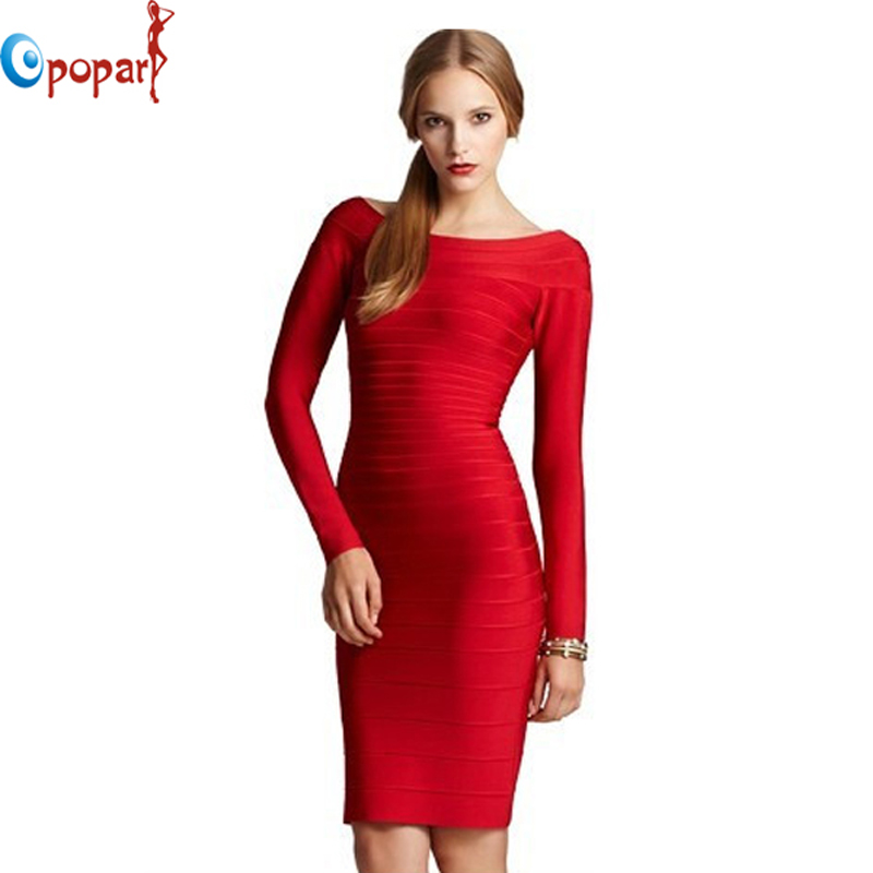 HL Evening Dress 2013 Celebrity Full Long Sleeve Good Elastic Cocktail Party Foraml Gowns Red Maxi Dresses HL1306