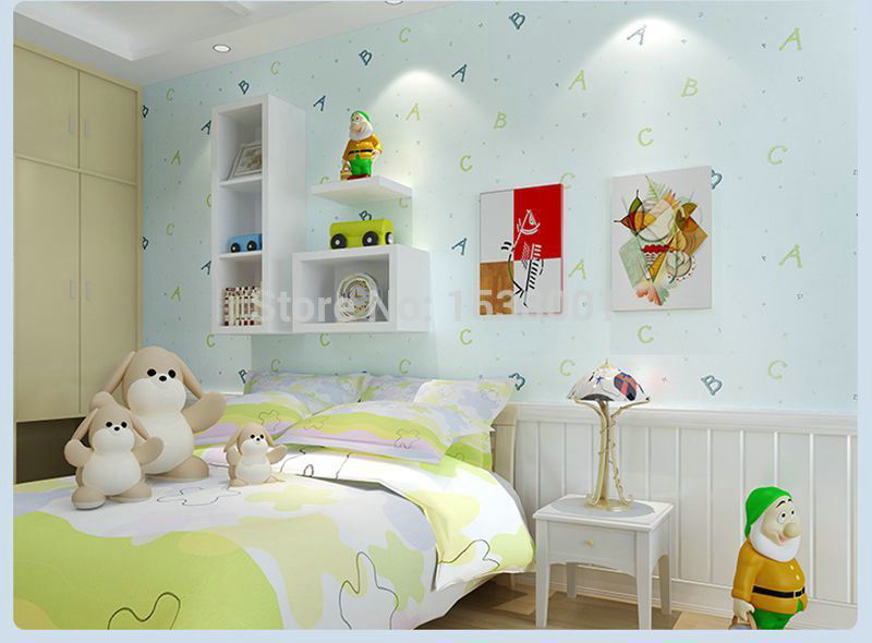 Puzzle ABC Kids Bedroom Light Blue Non-woen Wallpaper for Children's Bedroom mural wallpaper 3d(China (Mainland))