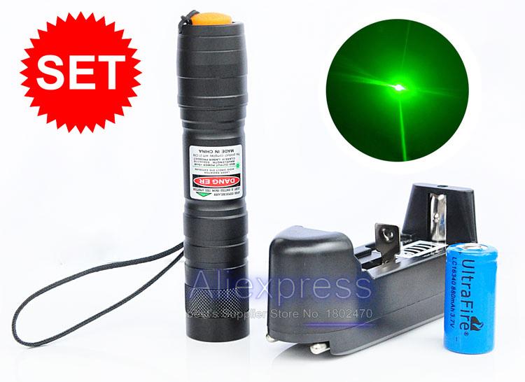 200mW Green Laser Pointer Pen Adjustable Focal Burning laser+1200mAh 16340 Battery+Charger Set [50000mW is false](China (Mainland))