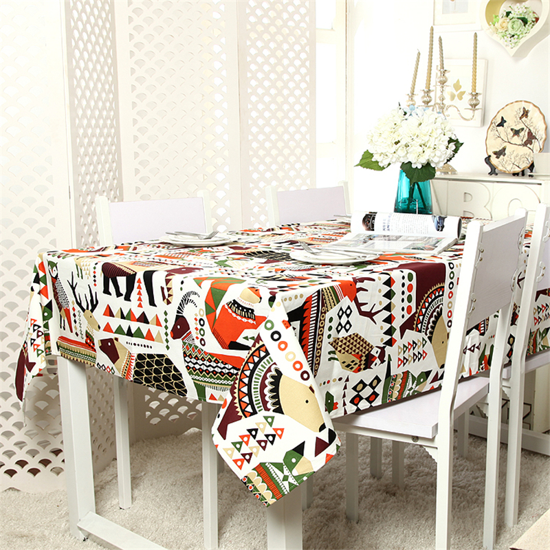 Modern Printed Tablecloth Cartoon Cotton Canvas Table Cover Kitchen Table Cloths Rectangular for Children's Room Dinner Lk110(China (Mainland))