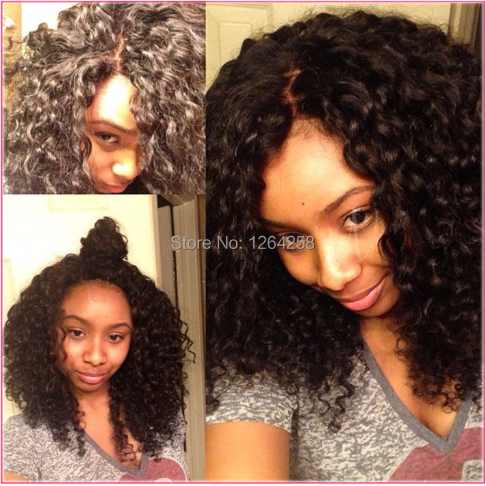 Natural Color Kinky Curly Lace Human Hair Wigs Brazilian Virgin Deep Curl Lace front Wig&Afro Curl Full Lace Wig For Black Women(China (Mainland))