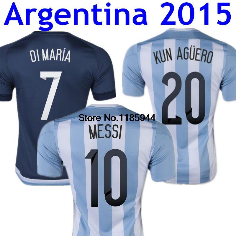 Top Thai Quality Messi Argentina Jersey 2015 DI MARIA Argentina Soccer Jerseys 15/16 Argentina 2015 Shirt Blue Camisetas Futbol(China (Mainland))