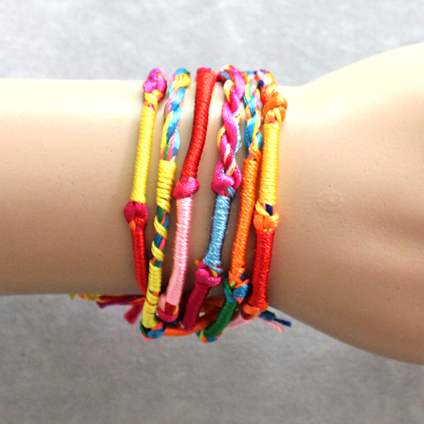 Promotion BULK 50pcs jewellery lots Colorful Braid Friendship Cords Strands Bracelets B224