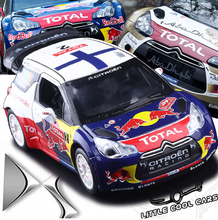 New origin 1:26 Citroen C4 DS3 WRC car model Racing kids toy pull back sound light sports car boy gift with stand free shipping (China (Mainland))