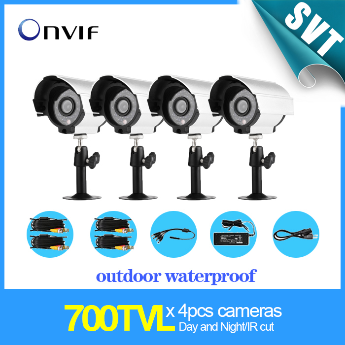 4pcs 700TVL day night vision IR cut waterproof outdoor CCTV color video surveillance camera kit all in one SK-098(China (Mainland))