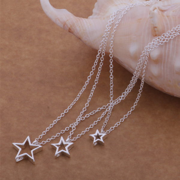 WN-502 Trendy Exquisite Multiple Layer Hollow-Out Stars Pendant Necklace 925 Sterling Silver Chain Fashion Jewelry Necklace(China (Mainland))