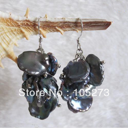 New Arriver Pearl Jewelry AA9-15MM Black Color Natural Freshwater Pearl Grape Dangle Earrings S925 Silver Hook New Free Shipping<br><br>Aliexpress