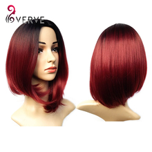 ombre synthetic wigs burgundy bob wigs cheap synthetic sexy female short haircut wigs best natural looking women wigs cosplay(China (Mainland))