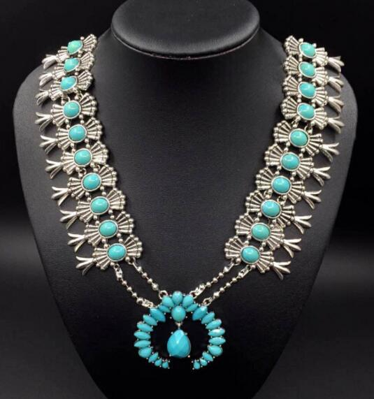 alibaba express factory sole design squash blossom jewelry amazing Pumpkin flowers necklace turquoise flower necklace(China (Mainland))