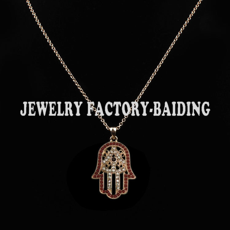 !small bead&crystal paved fatima hamsa hand pendant gold necklace jewelry - Yiwu Baiding Trade Co., Ltd. store
