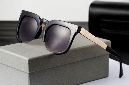 new Handmade Lee MinHo women Sunglasses frames Half rim sun lenses shades Metal Men sun spectacles frames Black Leopard glass(China (Mainland))