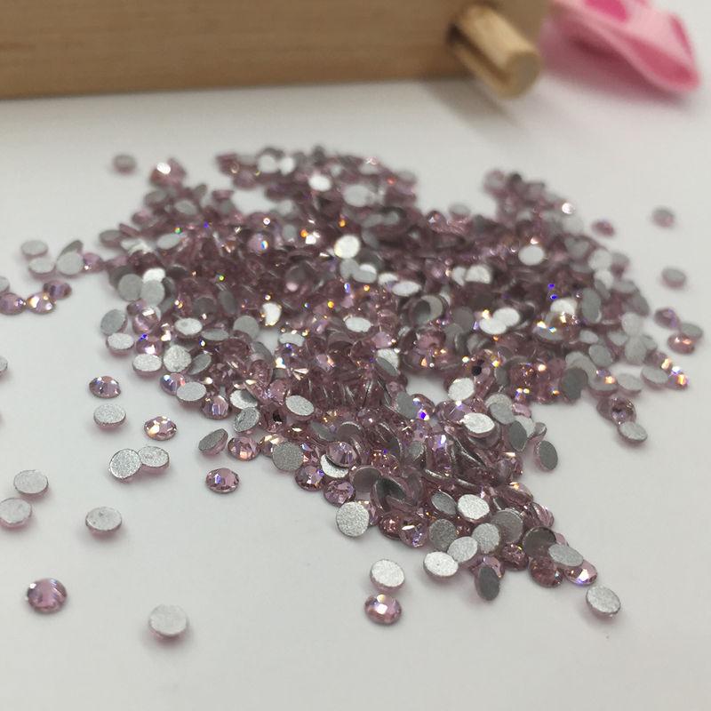 Hot diamond crystal rhinestone light pink flat SS6 DIY mobile phone shell beauty nail stickers drilling clothing D100(China (Mainland))
