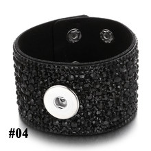 2019 nowy Snap przycisk biżuteryjny bransoletka szeroka skórzana bransoletka nadgarstek całkowicie wyłożone kryształkami ze skóry bransoletka Snap Fit 18mm przycisk biżuteryjny(China)