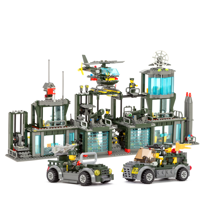 Military Building Block Set Compatible lego army command headquarters 3D Construction Brick Educational Hobbies Toy Kid
