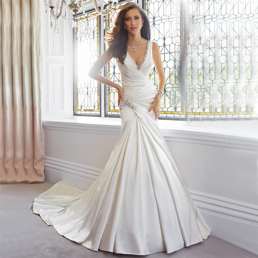 Vnaix wv473 v neck spaghetti strap sexy backless satin for Spaghetti strap backless wedding dress
