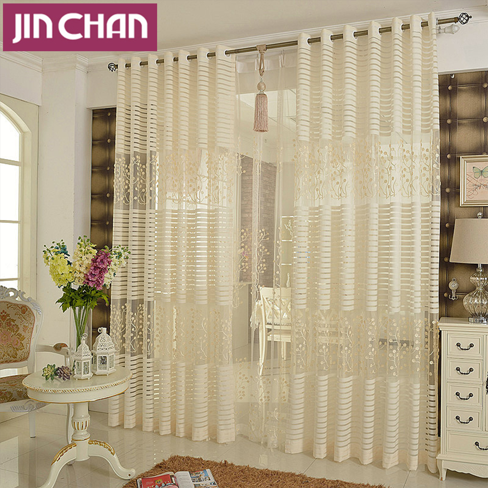 Plants emboridered modern window tulle curtains for living for Modelos de cortinas para dormitorios