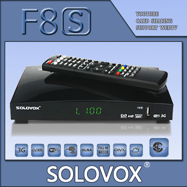 Factory outlet 10PCS Original SOLOVOX F8S Satellite Receiver Support 2 USB WEB TV 3G modem Card Sharing CCCAM/MGCAM/NEWCAM(China (Mainland))