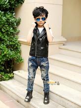 Spring and Autumn Children Outerwear WaistCoat Kids Clothes Baby Boy Girls Leather Vest Kids Zipper Gilet