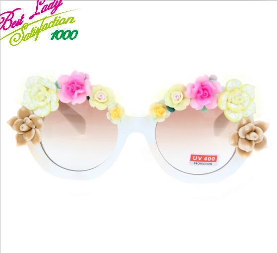 2014 New Arrival Fashion Statement Colorful Flower Summmer Beach Sunglass Cat Sunglass Women Handmade Flower Sunglass 8602