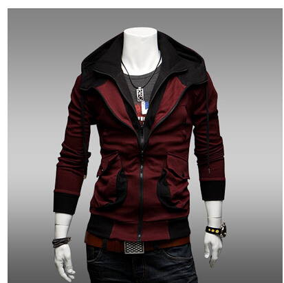 2016 New Free Shipping Fashion Mens Slim Fit Fashionable Hoodies Jackets Coats With A Hood Cardigan Sweatshirt Outerwear(China (Mainland))