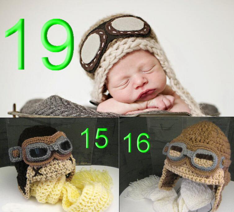 30piece/lot Cartoon series pilot hat --100% Handmade Baby Boy Crochet Avaitor Hat Pilot Caps in Brown for Christmas Gift(China (Mainland))