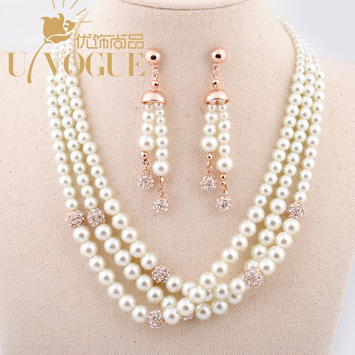 18K gold plated pearl beads jewerly sets wedding bridal party romantic chocker necklace drop earrings vintage UVOGUE Viennois