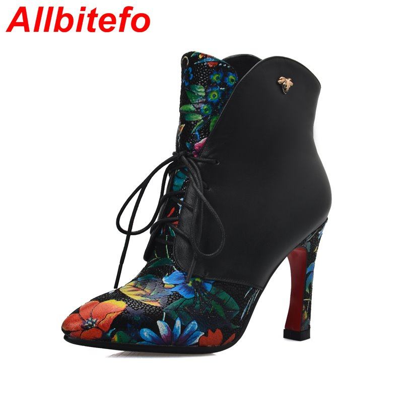 Classical fashion sexy red bottom high heel platform women motorcycle boots Genuine Leather pointed toe lace up ankle boots<br><br>Aliexpress