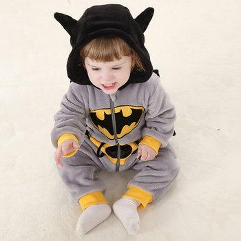 Baby Rompers Winter Cute Batman Fleece Warm Infant Hoodies Boy Girl Clothes