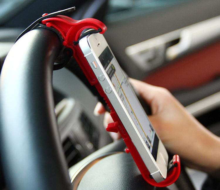 Mini car steering wheel mount holder for iphone 5 6 samsung s5 s6 GPS mobile phone holder soporte movil suporte celular carro(China (Mainland))