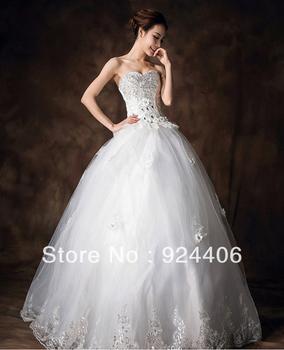 Free shipping,Modern,Customize,Wedding dress,Wedding gown.Ball Gown,Sweetheart,Anke length,Rhinestone,Sequin,Flower,Net/Tulle