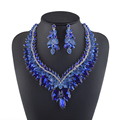 High End Rhinestone Bridal Wedding Jewelry Sets Royal Blue Fuchsia Color Women Party Necklace Earring Brides