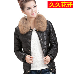Best Selling!!2012 leather women coat wadded jacket women's short design slim fur collar winter outerwear+free shipping