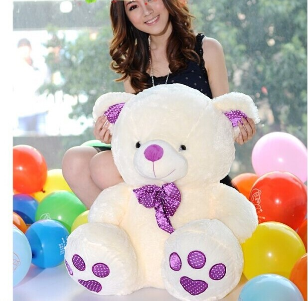 huge lovely teddy bear toy purple bow high quality big stuffed bear toy gift doll about 80cm(China (Mainland))