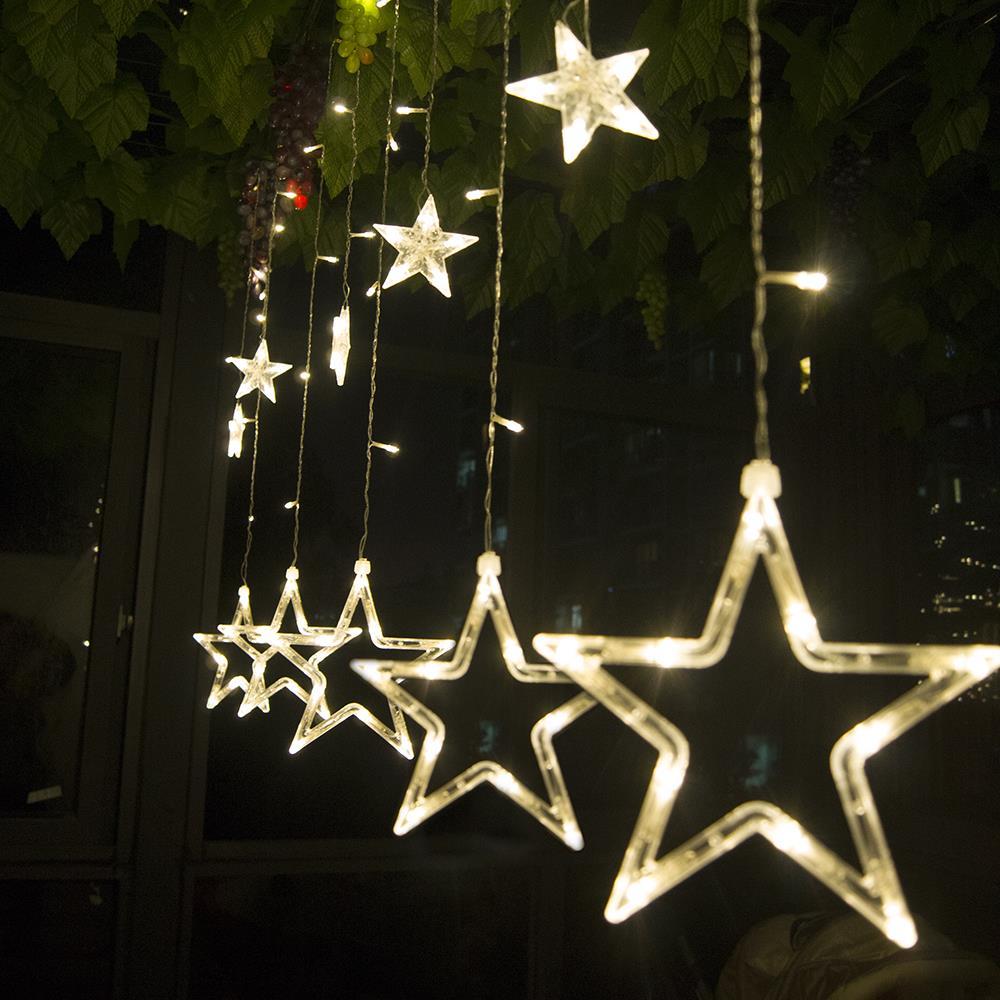 4M138Led LED Star Curtain Light,Holiday lights 12stars icicle light christmas light for Decoration(China (Mainland))
