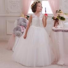 2016 Blanc Fleur Fille Robes Scoop Étage Sans Manches longueur Tulle Enfants De Noce Robe De Soirée Lovey Princesse Élégante(China (Mainland))