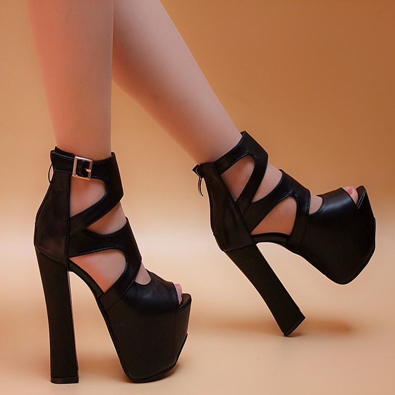 14cm high with thick with new shoes Roman strap sexy summer fish head waterproof heavy-bottomed open-toed sandals