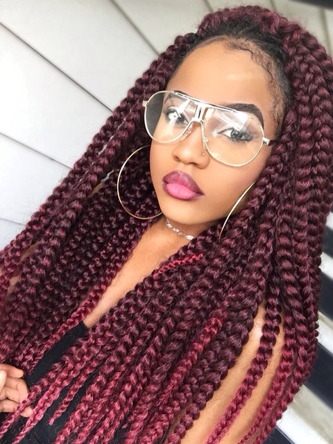 "Ombre BUG Crochet Extensions 18"", MIDDLE 3X Box Braids"